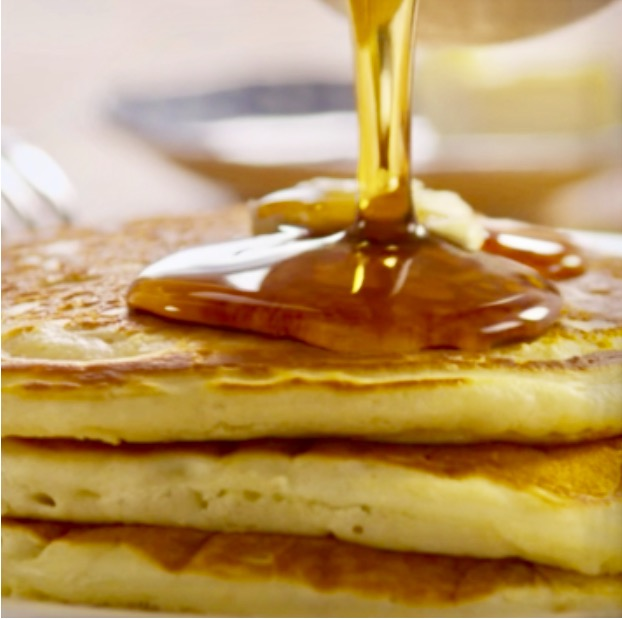 Maple syrup over Bliss Pancakes