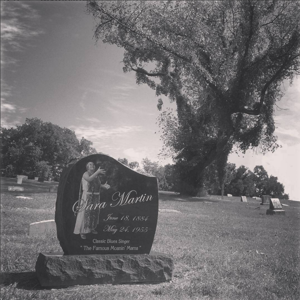 Louisville Cemetery at the grave of Sara Martin, the vocalist whose Jug Band Blues we recorded on our second album, The Southern Pacific and The Santa Fe. Her previously unmarked grave received this marker in 2014 through joint efforts of the Jubilee and the Kentuckiana Blues Society.