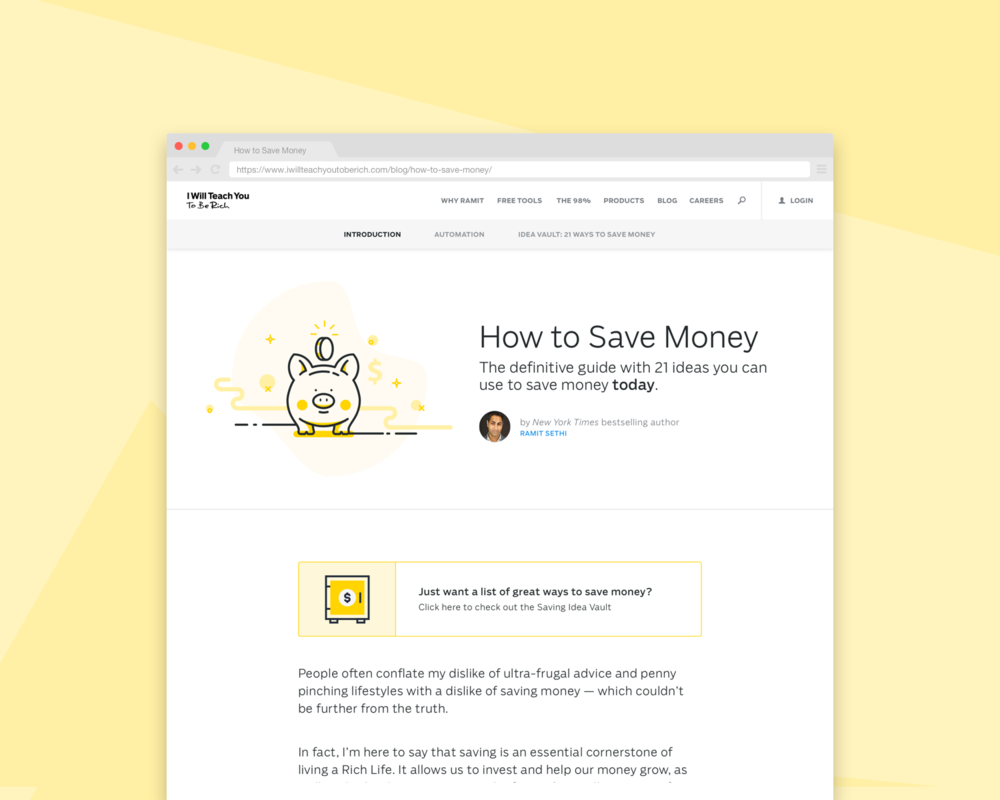 How to Save Money Blog Post Redesign - UI/UX DesignResponsive Web DesignA/B Testing*Lost during testing, and was killed.