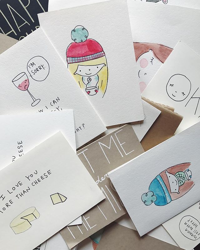 Hi, me again! Remember that post from this week where I mentioned there are new things a'comin' to this account. Well, I realized that I quite literally need to make more space for new ideas which means... a big clear out! ✨ I've decided to send anyone that messages me their address will receive a little goodie mailing of some @thedoodshop archives. 💌✨ I can't promise any certain card or illustration but I can promise free postage & minor entertainment for your mailbox all at the cost of just a lil' direct message. 💯 So, all this is to say... Hit a girl up! 😂