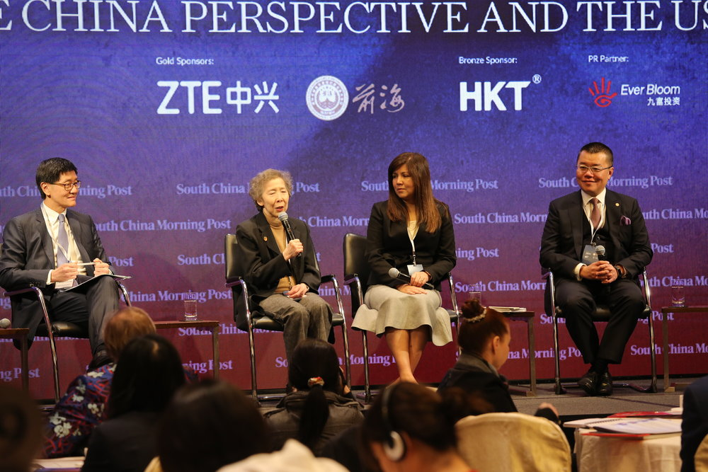 (From left) Lincoln Leung, chief executive officer, MTR Corporation; Dr Annie Wu, SBS, JP, member, Standing Committee, CPPCC; Zuraidah Ibrahim, deputy executive editor, SCMP ; Prof. Witman Hung, JP, principal liaison officer for Hong Kong, Shenzhen Qianhai Authority.