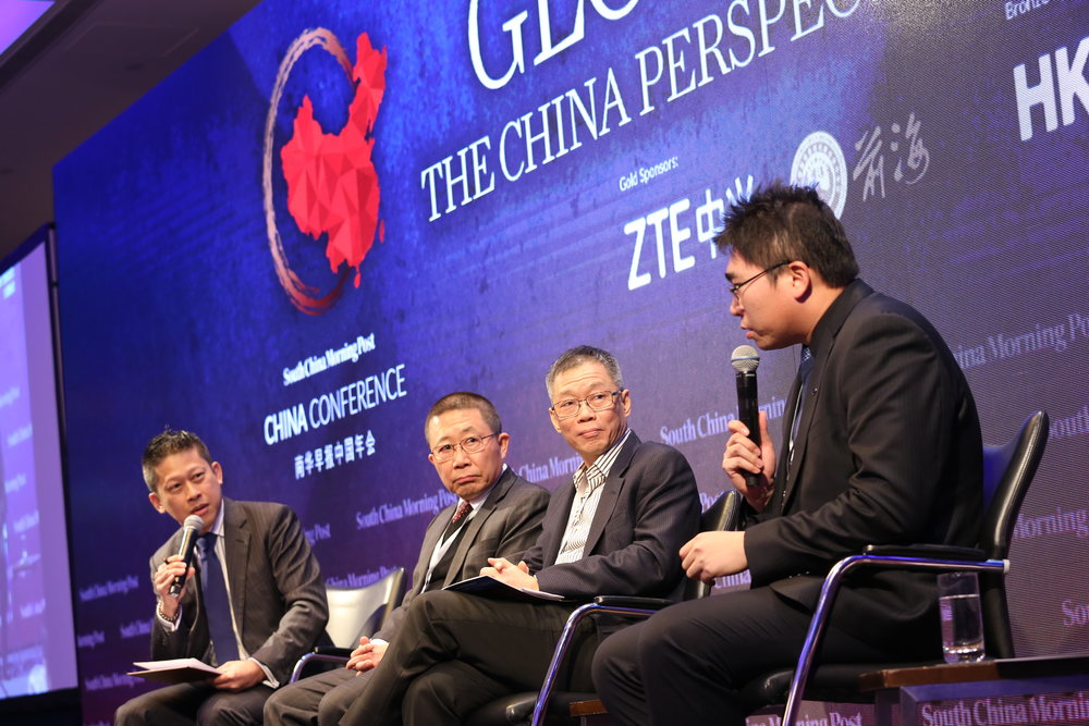 (From left) Eugene Tang, business editor, SCMP; Hung Kwong-yee, chairman, executive director and CEO, Ten Pao Group Holdings Ltd; Duane Kuang, founding managing partner, Qiming Venture Partners; Richard Li, director of brand communications, BYD Co. Ltd.