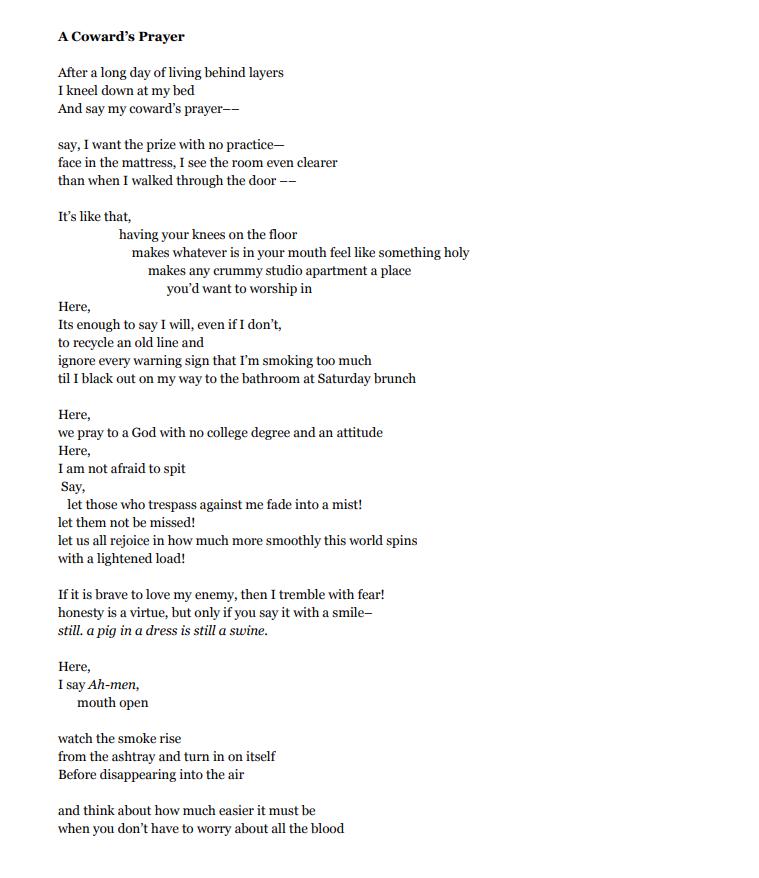 """""""A Coward's Prayer"""" by Zariya Allen, published on  WeTheTenderHearted.com  (2018)"""
