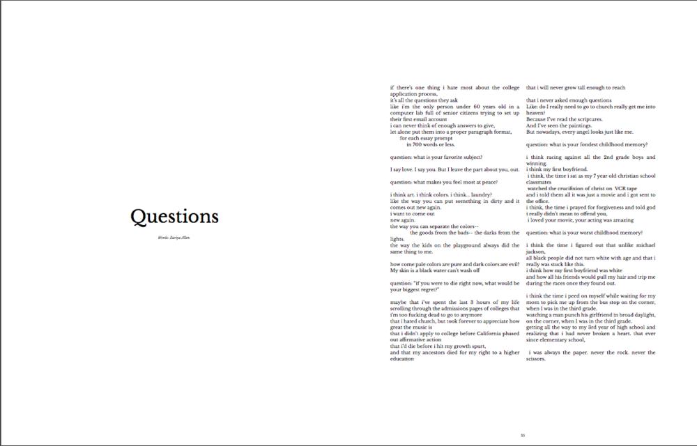 "(1 of 2) ""Questions"" by Zariya Allen, published in NiiJournal Issue 2 (2017)"