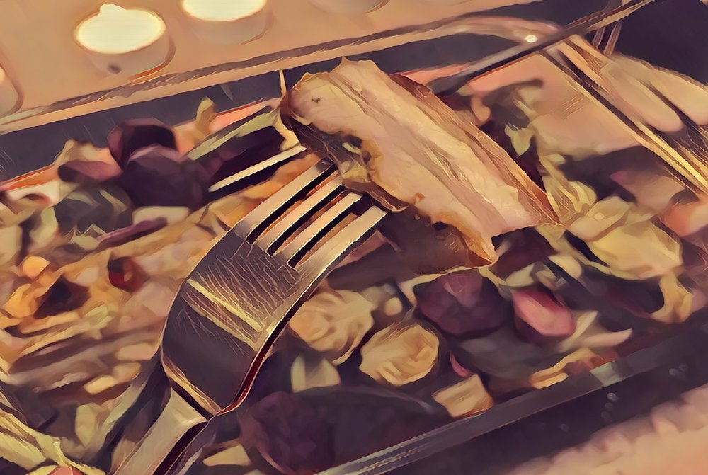 Pork Belly on a Bed of Brussels Sprouts and one lonely Sweet Potato - copyright Life-Sparring.com, Filter: Prisma