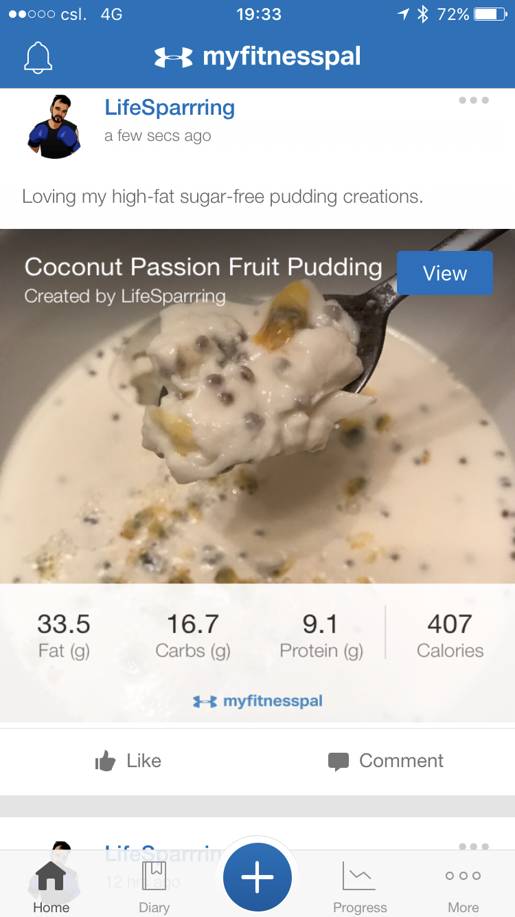 Creative keto cooking - Copyright Life-Sparring.com (via MyFitnessPal)