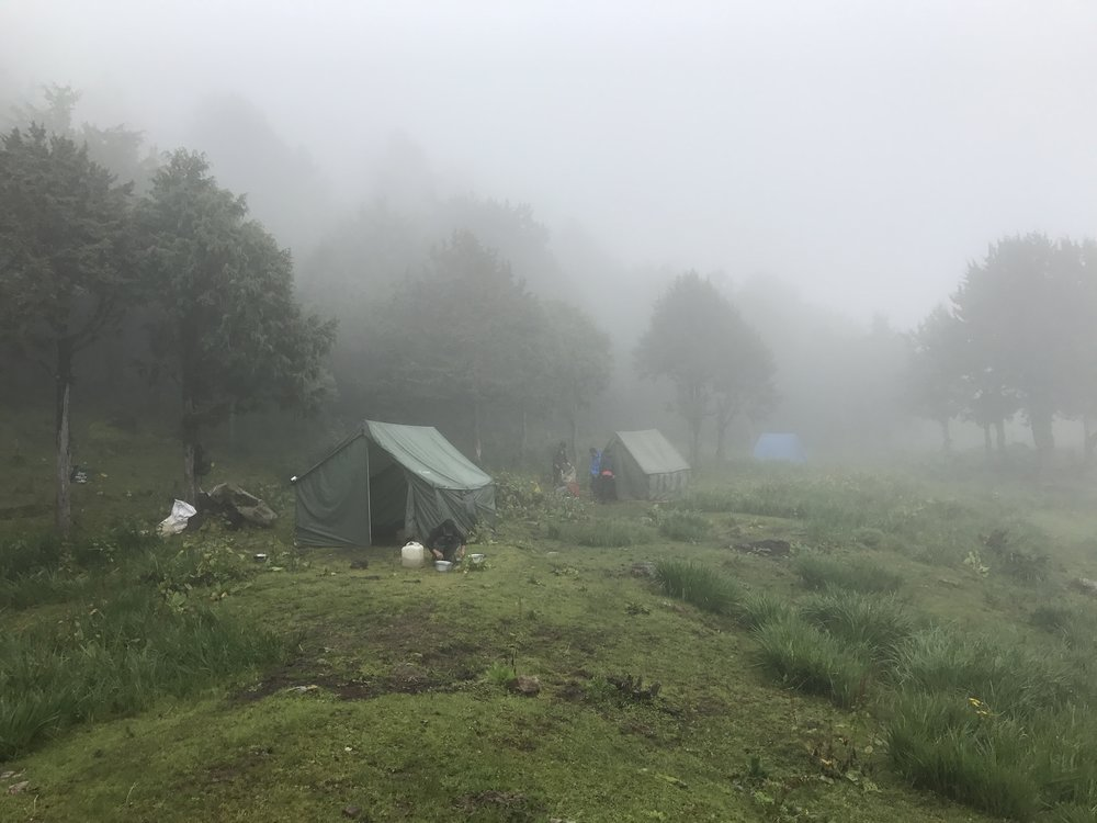 A little tent city in the mist - our camp for the first night.