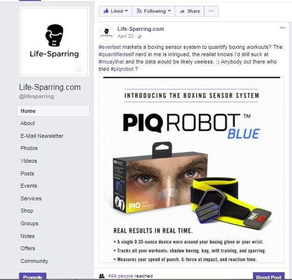 Original posting on Facebook (@lifesparring)after seeing PIQ Robot on Everlast.com