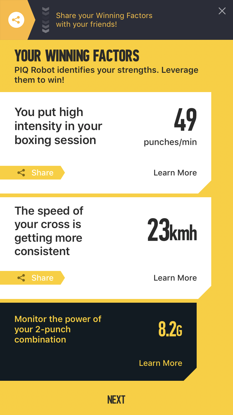 Winning Factors - PIQ's key insights from your boxing workout.