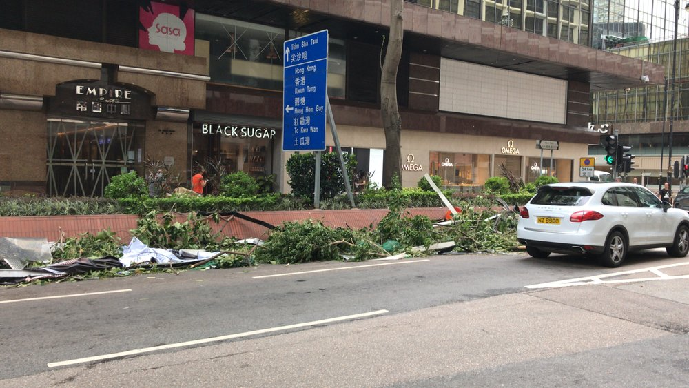 Aftermath of Typhoon Mangkhut in Tsim Sha Tsui East (Hong Kong), September 17, 2018