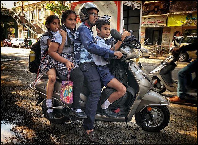 School commuters. Mumbai, India 2019. . . #everydayindia #bombay #travelgram #instamoto #seetheworld #travellers #motorcyclediaries #streetphotography