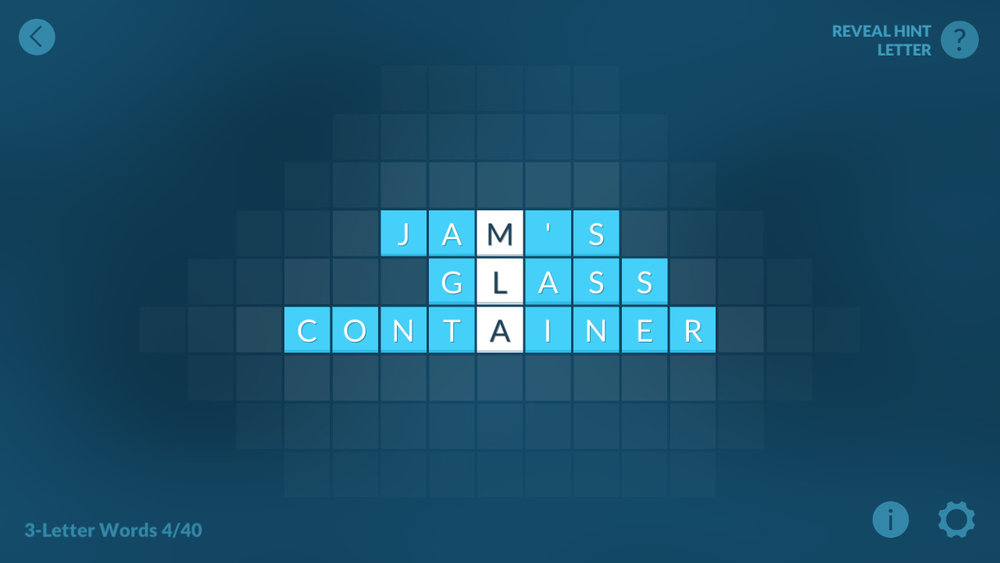 "Sample puzzle. To solve, you slide the words in the definition left or right until the answer is spelled down the center line. To answer ""Jam's glass container"", you spell JAR down the center. Simple enough, right?"