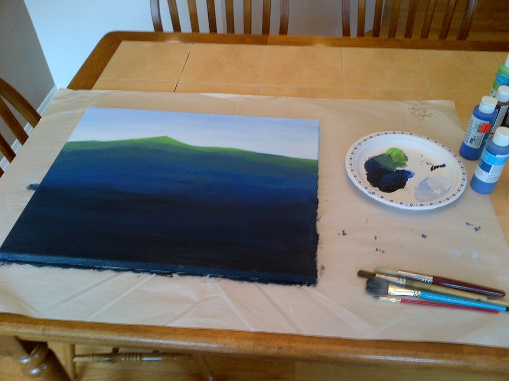 It started with this. I wanted to do an underwater scene. It seemed like a fairly straightforward thing to paint – relatively few details to mess around with. Here were the flat colors, as well as a display of my ultra-sophisticated horizontal four-legged artists easel (otherwise known as my dining room table) and circular ergonomic paint palette (a disposable paper plate for mixing the paints). Not shown is a cup of water and paper towels. If you decide to paint, make sure you get the paint off of your brush as soon as you don't need it any more. A paintbrush with caked on paint is no good to you any more.