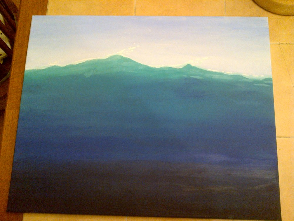After doing the initial flat colors, the comments from others were that the top was too green, like a grassy hill, and that the water got black too quickly. I had to agree, so I repainted the whole thing. (In digital art, this would have been accomplished with a gradient tool. Acryllic paint technology has not acquired one of those yet.)