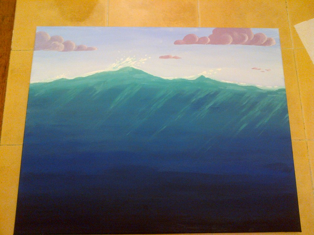"Next, it was time to put some texture in. The water received some rays of light (known in CG art as ""caustics""), and clouds were added. I'm not great with color theory, so it was a pretty bold choice for me to go as purple as I did with those clouds, but I'm glad I did. I like them.  Note for acryllics... a lot of techniques can only be done well when your brush has very little paint on it and is nearly dry. Both the shading on the clouds and the light rays in the water relied on a dry brush."