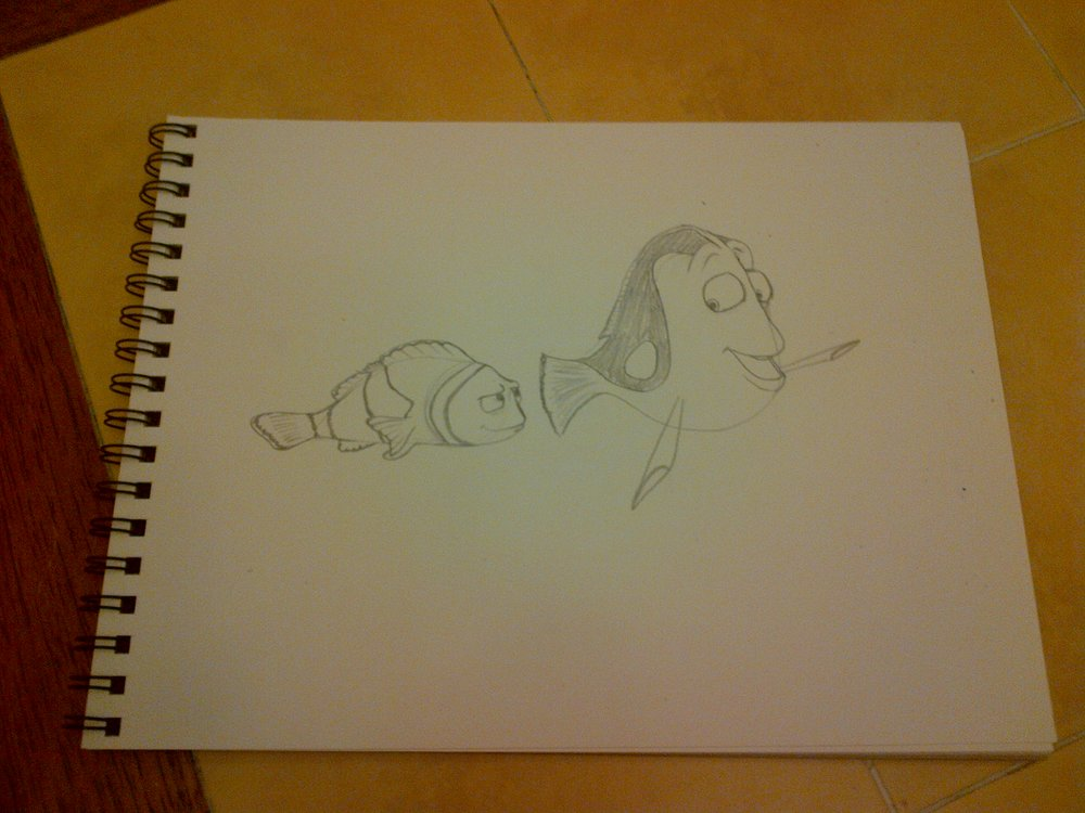 When I started the project on the first day, my thought was that it was the type of water that Nemo might have swam in. I even looked at Finding Nemo stuff for reference. It seemed only natural that I just try to paint them in, and now was the time to do it. Step 1 was sketching Marlin and Dory out in a sketchbook first. I needed to be confident of the pose before painting it. This was my first try, and I liked it enough that I left it at that.