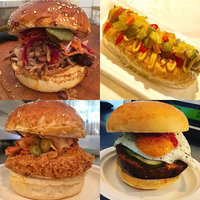 Available everyday! Our pulled pork with quick pickle slaw, bio hot dog with chipotle and eidam, Katsu Kimchi bun and our classic meat loaf sandwich! Not forgetting cold meat sandwiches, various roast meat sandwiches, fresh kobliha and cold beer to go! Come and pick up a butchers bite today! #ThankGodItsFriday #trms #butcher #bio #slowgrown