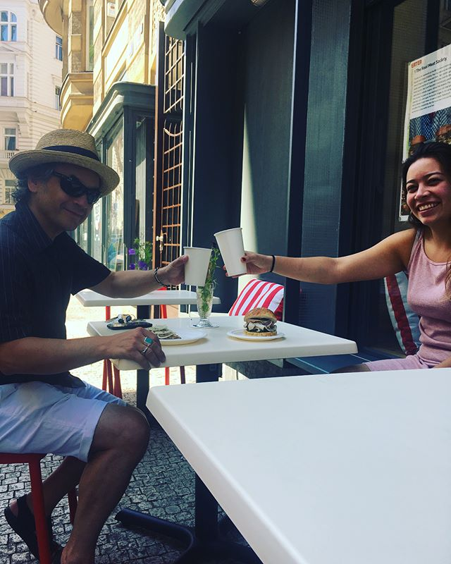 Our beautiful terrace is open for business! Come and grab an al fresco lunch from the butcher shop today! We have a new and bigger menu for you to try! #trms #terrace #alfresco #eatoutside #prague #praguefood #summer