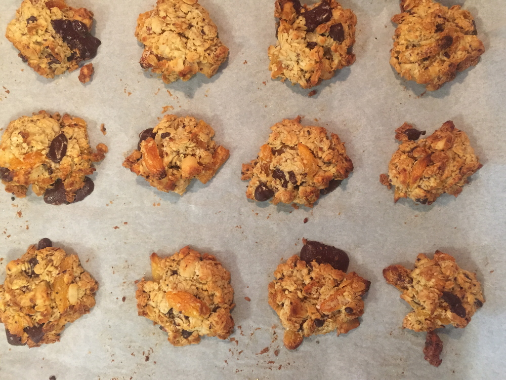 macadamia choc chip and apricot cookies fresh out of the oven.