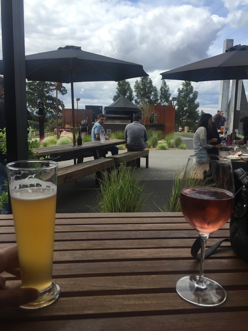 Enjoying a beverage at MONA (it's amazing btw) after spending the day wondering through the museum.