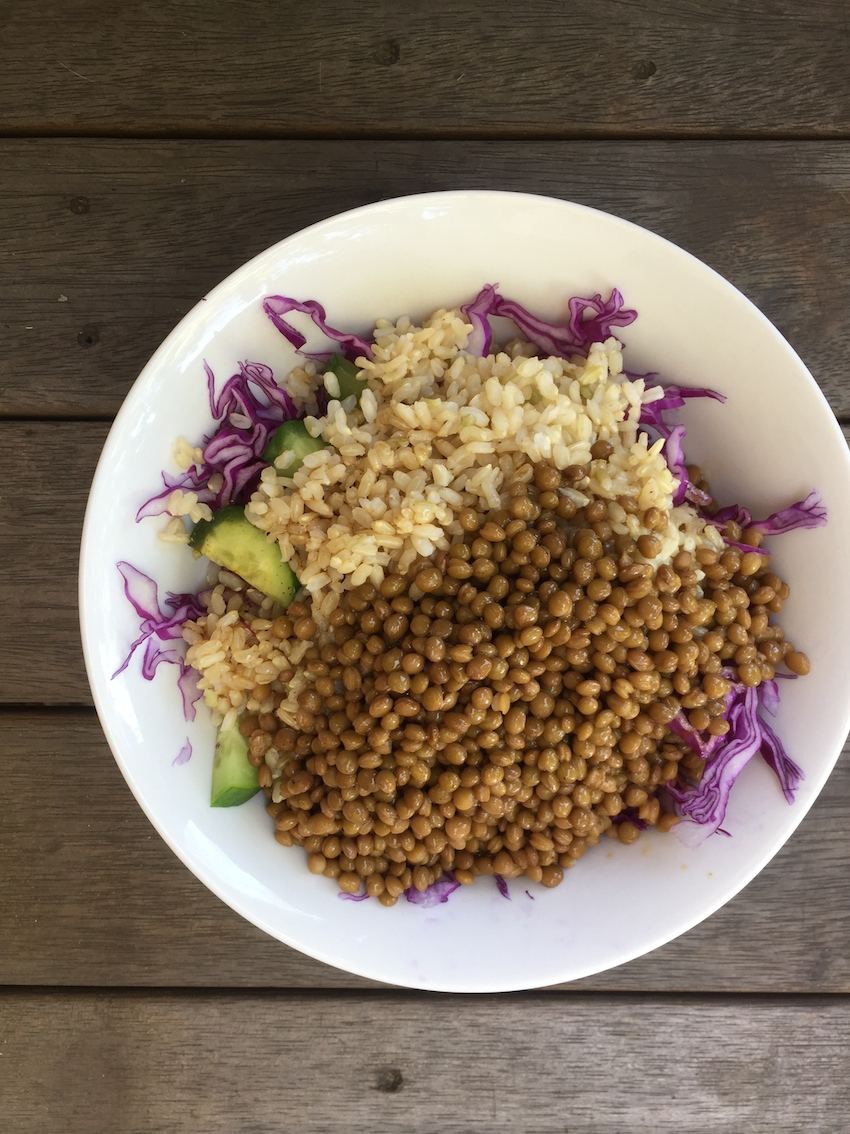 Lentils, brown rice and salad, easiest meal ever!
