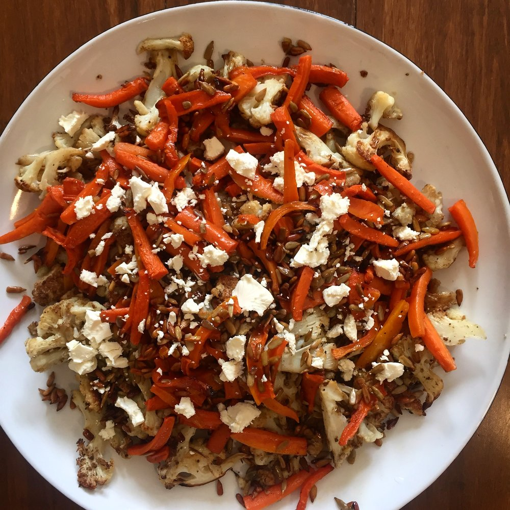 Roast Cauliflower, Maple Carrots and Sunflower Seed Saladvia  @casuarinaforsyth  Instagram