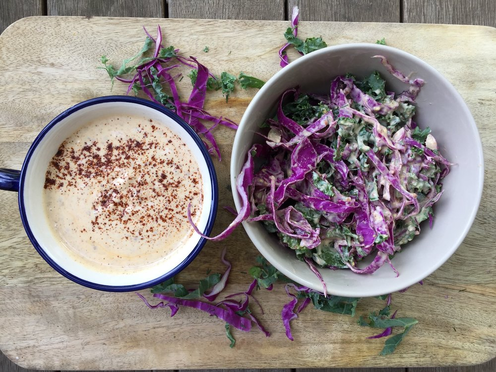 Kale and red cabbage slaw with the amazing tahini, yoghurt and chipotle dressing.