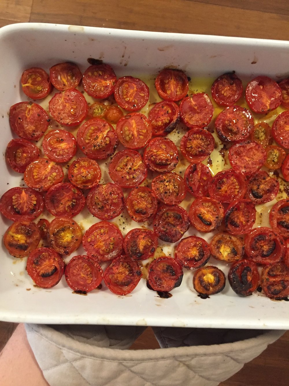Roast tomatoes fresh out of the oven.