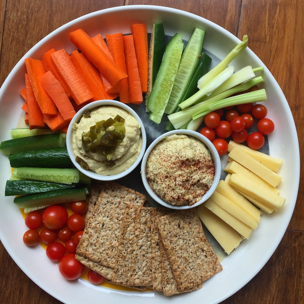 Delicious veggie and cheese platter.