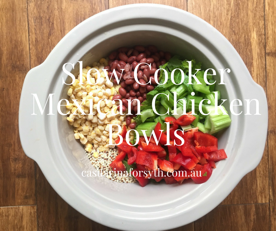 Slow cooker Mexican chicken bowls are super easy!