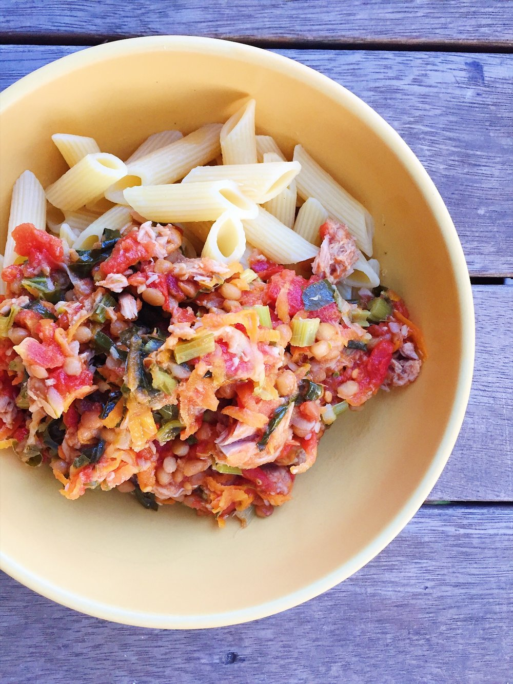 Easy and delicious tuna and veggie pasta - just add cheese!