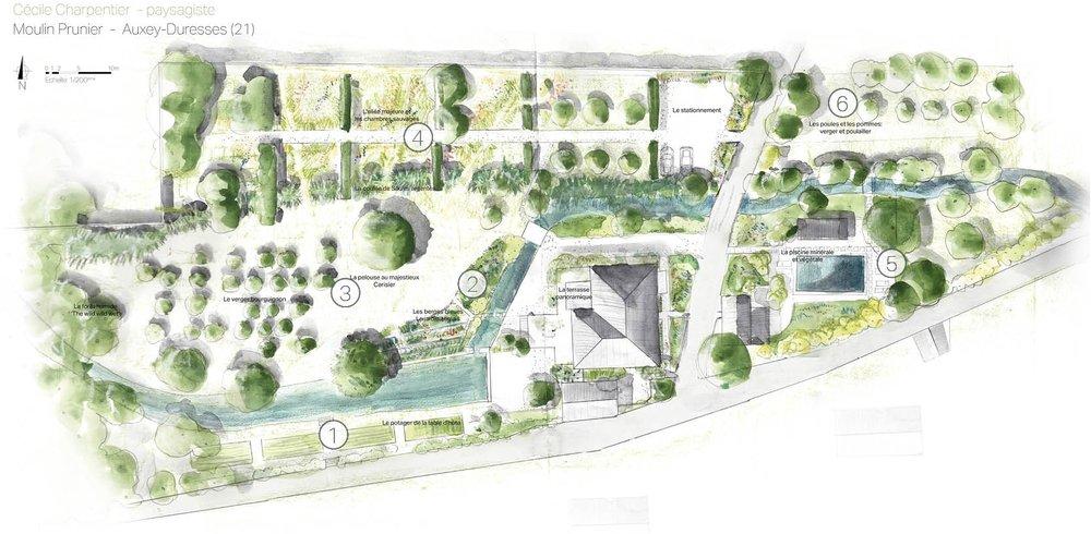 Plan d'esquisse du jardin nourricier du Moulin Prunier