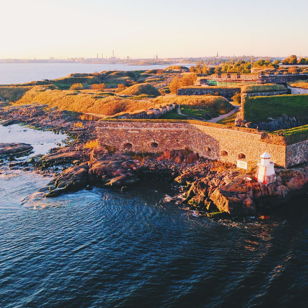 Suomenlinna Island as the Baltic ferry sails past.