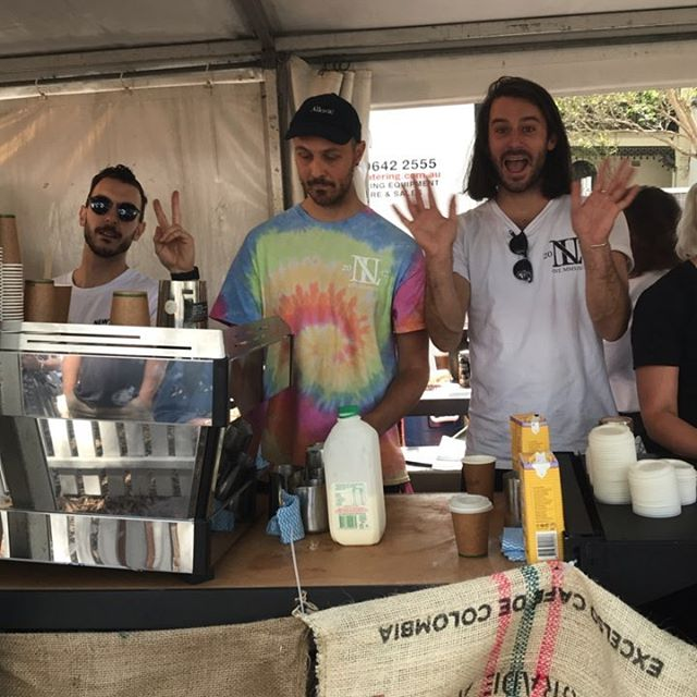 Legends behind the machine today from @fleetwoodmacchiato @rising_sun_workshop @212_blu caffeinating Newtown. Thanks Nicks Foods for the milk and @blackmarketroasters for the beans. #newtownfestival2017 #doitforthelocals #newtownneighbourhoodcentre