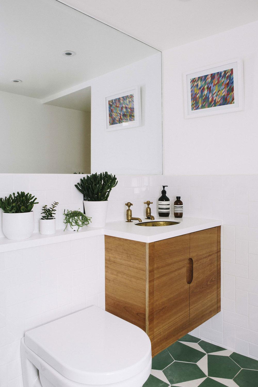 Bathroom Carpenter bespoke cabinets cherry-veneered plywood doors