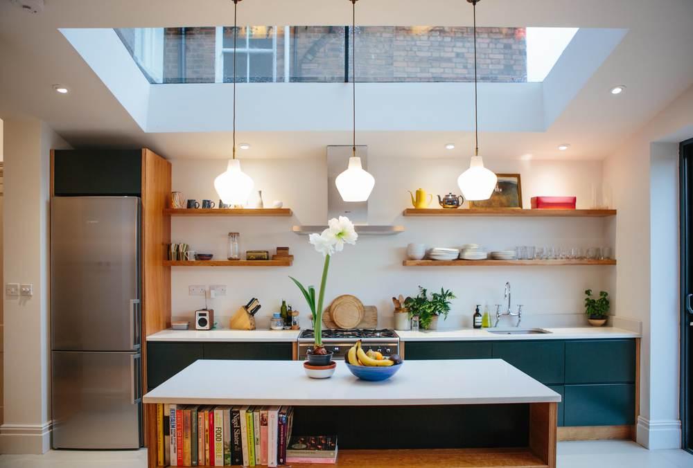 beautiful kitchen, kitchen island, farrow and ball, kitchen lighting
