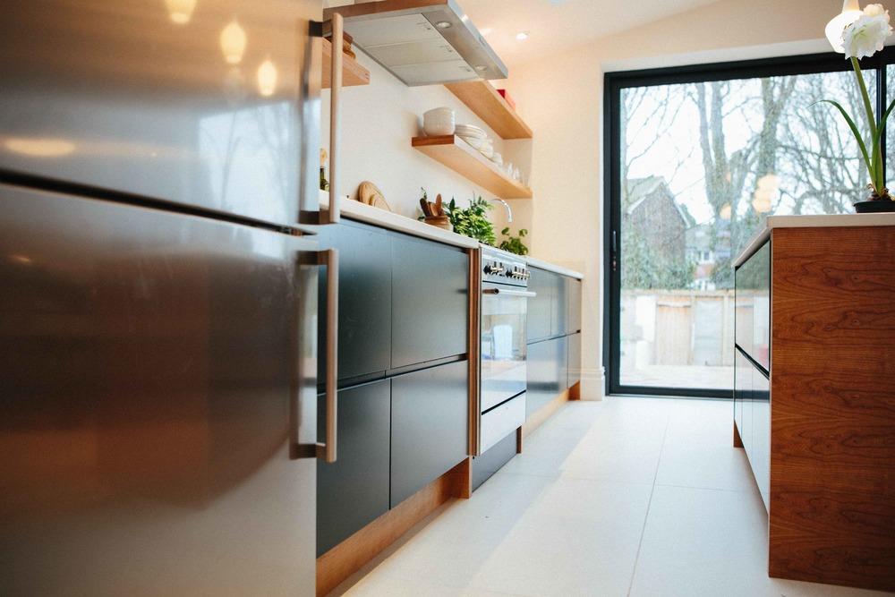 spray painted, fingerless drawers, bespoke design, London kitchen