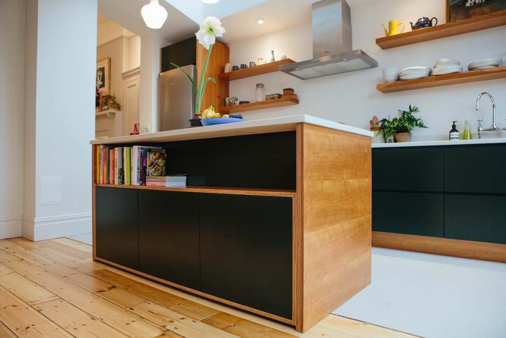 floating shelves, kitchen island, veneered birch plywood, stylish kitchen design london