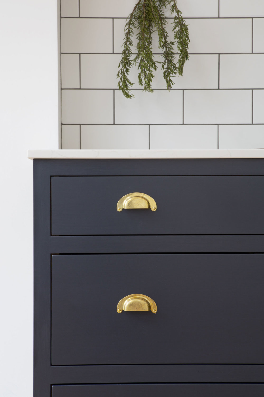 brass handles, blue drawers, handmade, victorian design, shaker