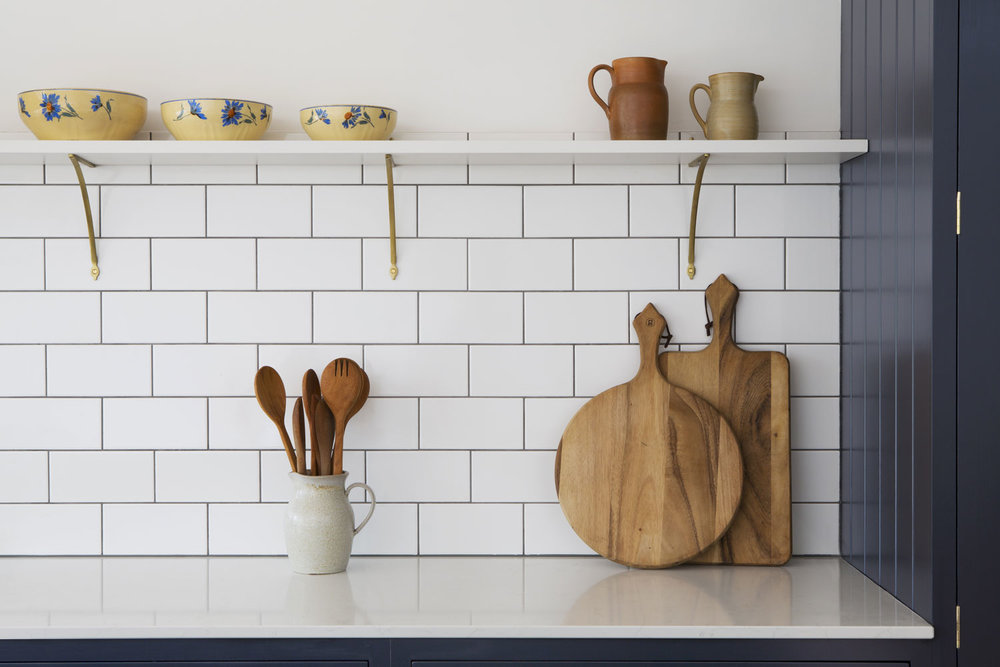kitchen surface, london kitchen, shasker design, tiling, stylish