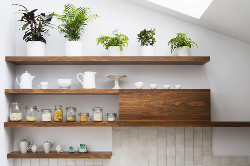 birchwood shelving, bespoke design, modern kitchen, shaker design
