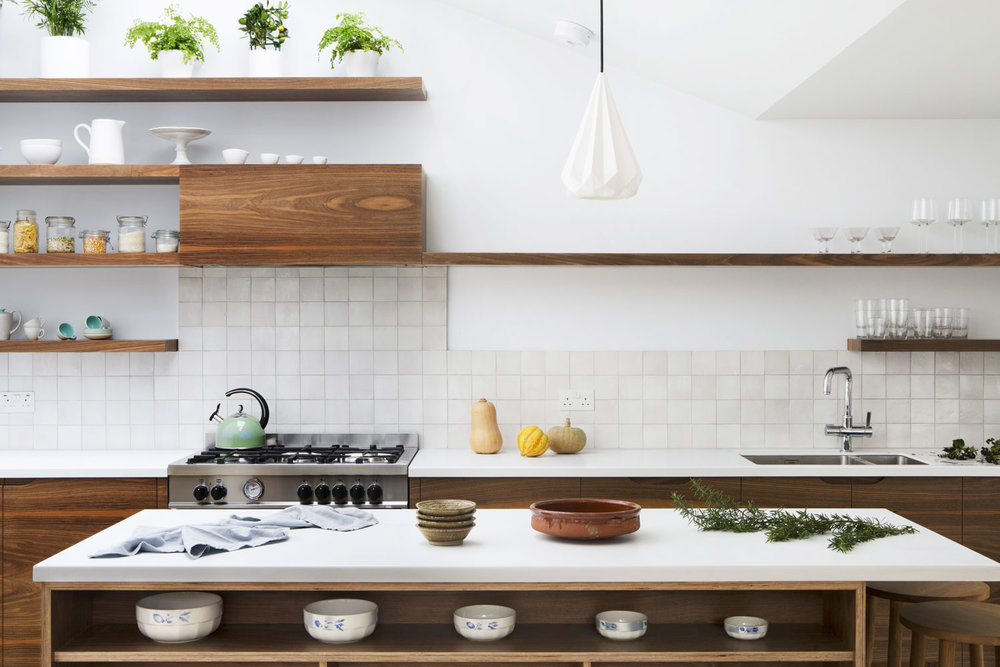 beautiful modern kitchen, bespoke design, birch ply, floating shelves, London, shaker