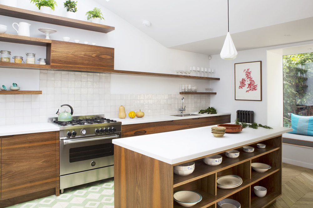birch plywood, kitchen island, modern kitchen design, london