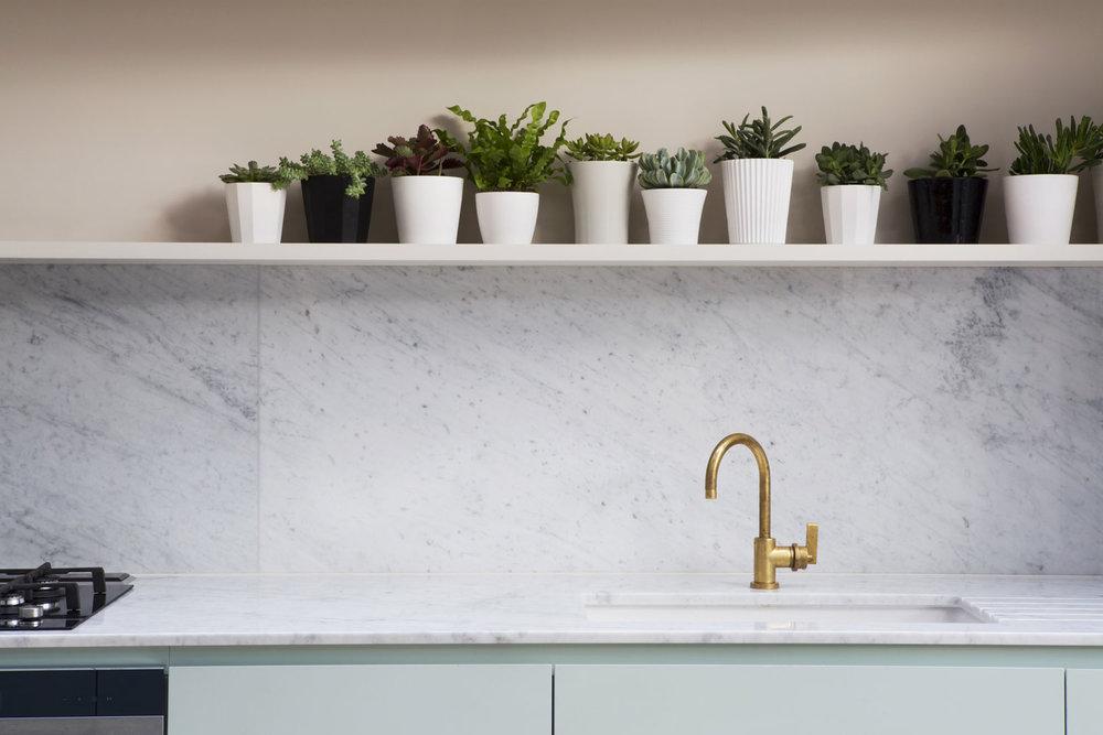 kitchen surface, brass tap, handmade, bespoke, London kitchen