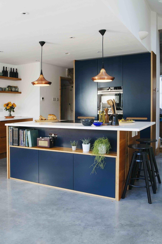 veneered birch plywood, modern kitchen design, london