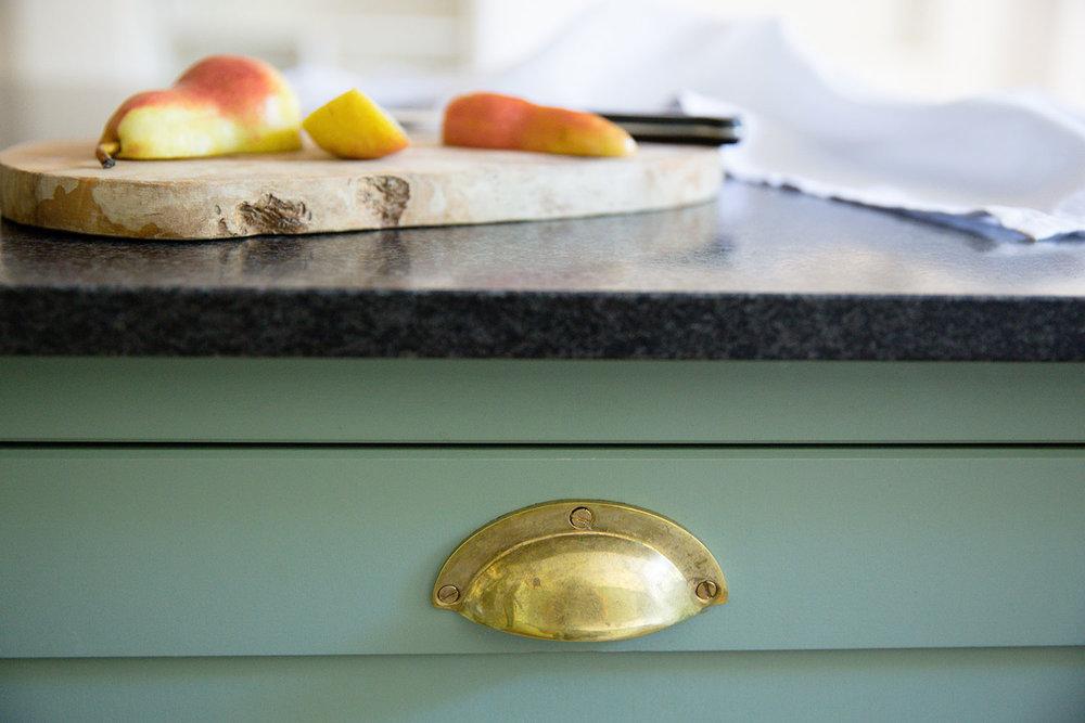 drawers, brass handles, kitchen surface, modern design