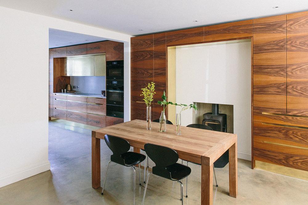 kitchen design, central table, minimalism, bespoke kitchens, west and reid