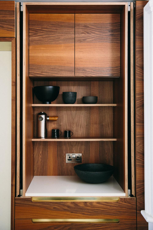 walnut cupboards, bespoke design, craftsmanship, kitchens, london