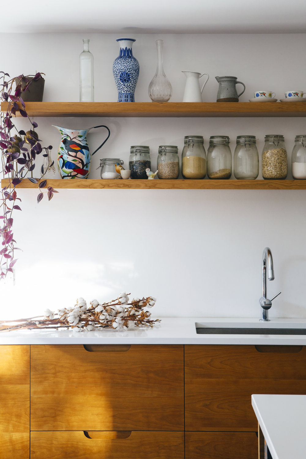 floating shelves, birch doors, cupboards, stylish kitchen design, london