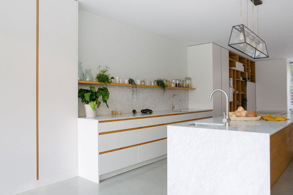 kitchen counter, bespoke design, west and reid, walnut, brass